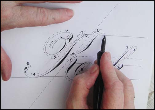 Here the nib is at the top of the letter using almost no pressure.