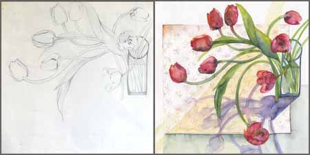 27-03-15 drawing and painting - red tulips