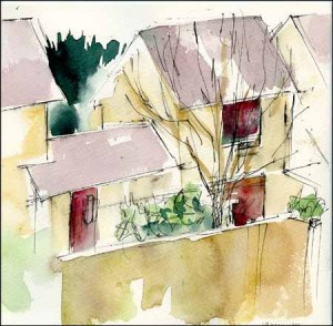 View from my bedroom window at home - 12 minutes technical pen and watercolour