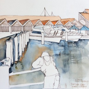 Hillarys Boat Harbour - Sorrento Quay - 1 hour - watercolour & sepia technical pens .5 and .1