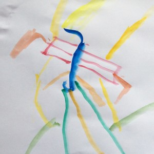 Nomi's painting - she is four and has joined me on my sketching journey.