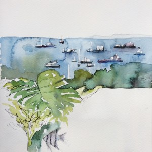 Ships docked on th East Bay Coast of Singapore. From the balcony with its plants and aquarium. Watercolour and .1 pen. About 45 minutes