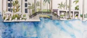 Pool at the condo - watercolour and technical pen, drawn lounging on a dekchair