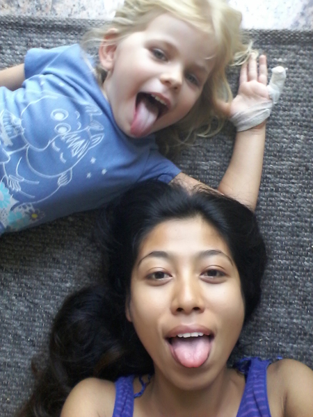 LuSan and Nomi pulling silly faces