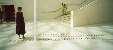 Heleen de Haas walking on the inlaid letters