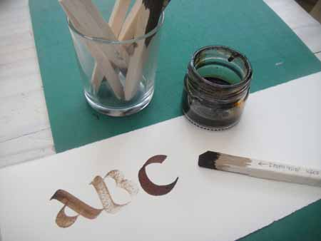 Children can start with the balsa pen in the ABC Uncials kit