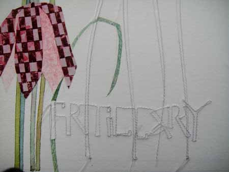 Lin - Stitched Fritillary on paper