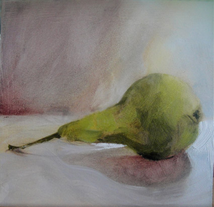 Pear 22/01: 15cm x15cm, original oil painting on panel, unframed