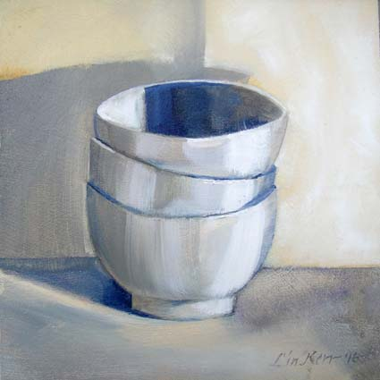 Bowls#1: 15cm x15cm, original oil painting on panel, unframed