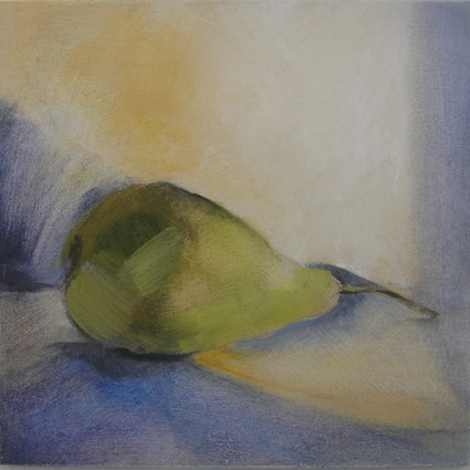 Pear 23/01: 15cm x15cm, original oil painting on panel, unframed