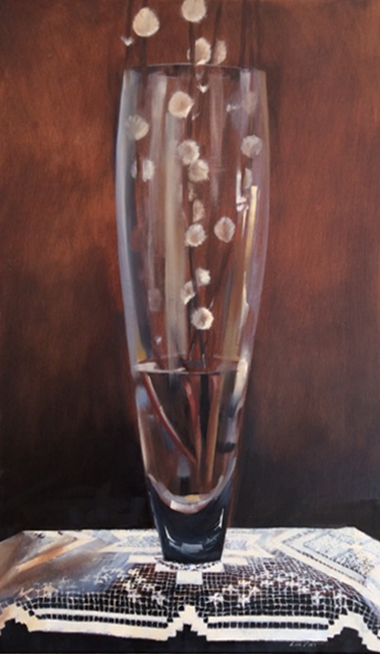 Vase on lace cloth 76cm x 45cm