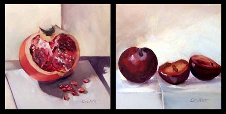 pomegranate and plums