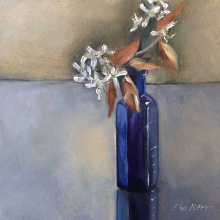 Blossoms in a blue bottle 15cm x 15cm - oils on panel