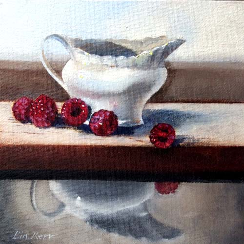 This is my latest painting: Raspberries and cream 15cm x 15cm.