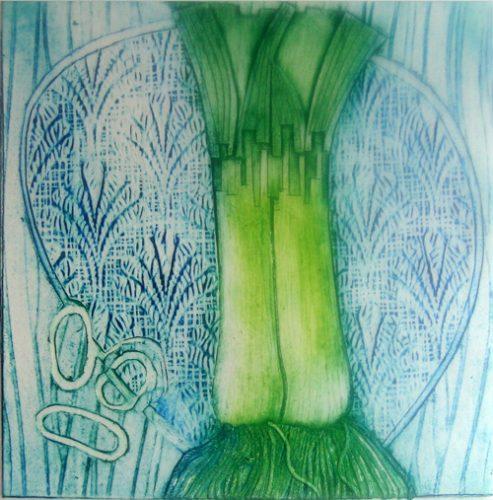 Leeks on a blue plate 2014