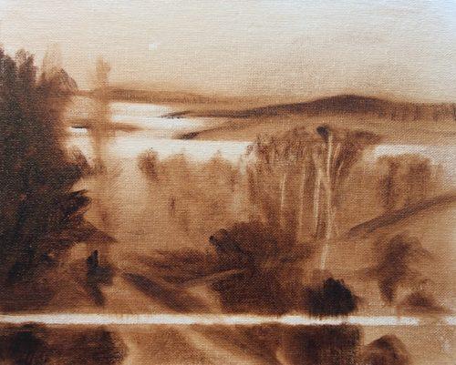 umber tonal sketch / underpainting in oils