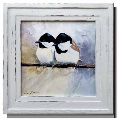 Two baby coaltits in hand-gessoed frame