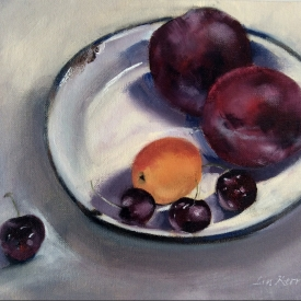 M793 Two plums, four cherries and an apricot
