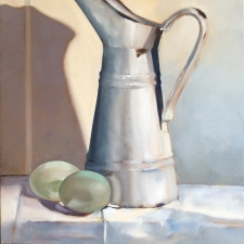 L746 Enamel jug with duck eggs