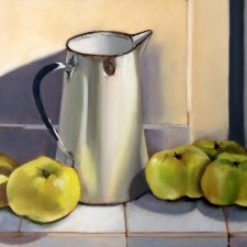 M764 Enamel jug with Bramley apples