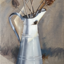 M766 Enamel jug with teasels